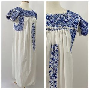 Vintage Hand Embroidered Cotton Maxi Dress M